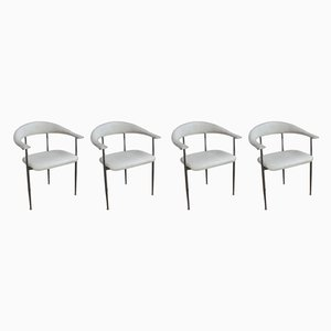White Leather P40 Dinner Chairs by Vegni & Gualirotti for Fasem, 1980s, Set of 4