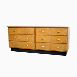 Mid-Century Industrial Dutch Oak and Teak Bank of Drawers, 1940s