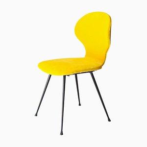 Italienische Esszimmerstühle mit gelbem Samtbezug von Carlo Ratti, 1950er, 6er Set