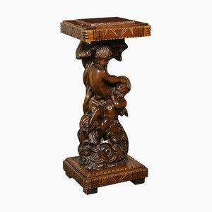 Antique Italian Marble and Walnut Vase Stand