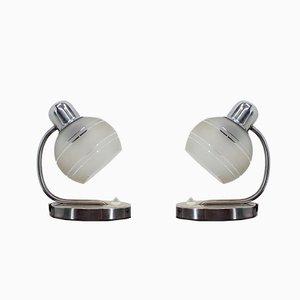 Tischlampen aus Messing & Glas von Napako, 1970er, 2er Set