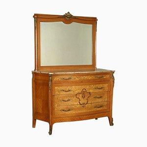 Antike italienische Kommode mit Spiegel
