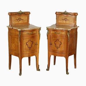 Tables de Chevet Antiques en Acajou et en Marbre, Italie, Set de 2