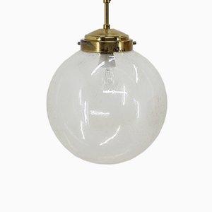 Lámpara colgante grande de latón y vidrio de Kamenický Šenov, años 60