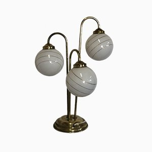 Art Deco French Brass & Glass Globe Table Lamp, 1970s