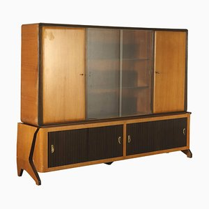 Mid-Century Italian Glass and Rosewood Cabinet, 1950s