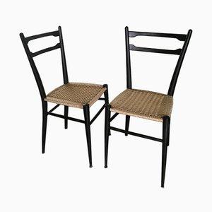 Italian Beech Dining Chairs by Gio Ponti, 1950s, Set of 2