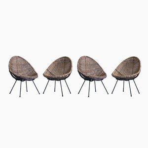 Italienische Mid-Century Gartenstühle aus geflochtenen Schalen, 1960er, 4er Set