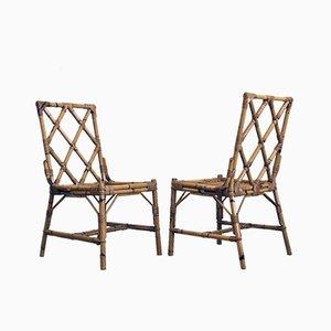 Italienische Mid-Century Gartenstühle aus Schilfrohr, 1960er, 2er Set