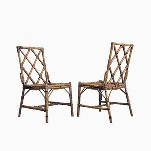 Mid-Century Italian Reed Garden Chairs, 1960s, Set of 2