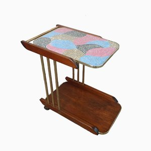 Vintage German Brass & Pine Mosaic Top Trolley, 1970s