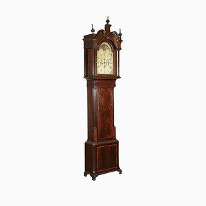 Reloj de caja alta francés antiguo de vidrio y caoba