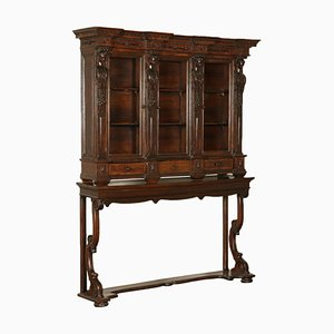 Antiker neoklassizistischer italienischer Bücherschrank oder Konsolentisch aus Glas & Nussholz