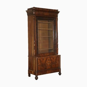 Antique Italian Cherry and Glass Display Cabinet