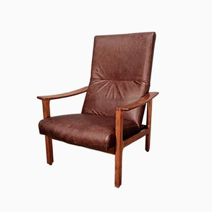 Club chair in pelle e teak di Bröderna Andersson, anni '60