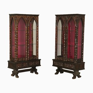 Antique Italian Fabric and Glass Cabinets, Set of 2