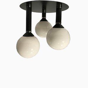 Lámpara de techo alemana era espacial vintage de vidrio y hierro fundido, años 70