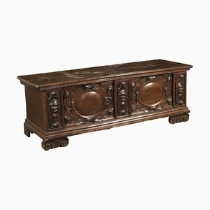 Antique Italian Walnut Carved Storage Bench