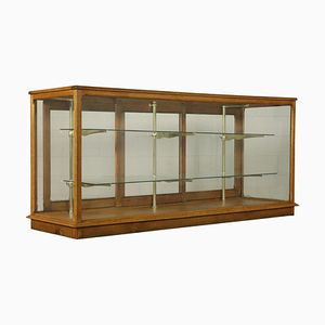 Antique Italian Brass, Oak, & Glass Display Counter