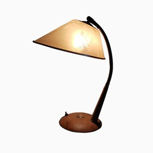 Swiss Brass Table Lamp with Wooden Stand from Temde, 1950s