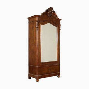 Antique Italian Mahogany Single Door Wardrobe with Mirror