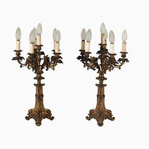 Candelabros italianos de bronce dorado, siglo XIX. Juego de 2