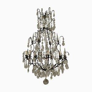 Lámpara de araña italiana de cristal y bronce, principios del siglo XX