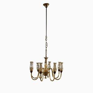 Lámpara de araña italiana Mid-Century de latón y vidrio ámbar, años 50