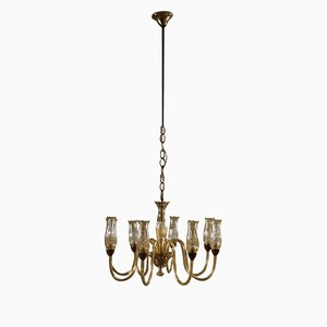 Mid-Century Italian Brass and Amber Glass Chandelier, 1950s