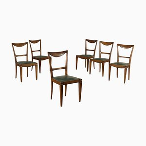 Italian Beech and Leatherette Dining Chairs, 1940s, Set of 6