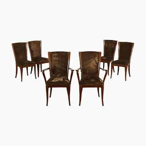 Chaises de Salon en Hêtre, Italie, 1950s, Set de 6
