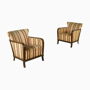Antique Art Deco Italian Walnut Armchairs, Set of 2