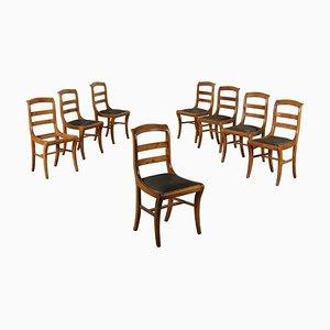 Chaises de Salle à Manger Antiques en Cuir et Merisier, Italie, Set de 8