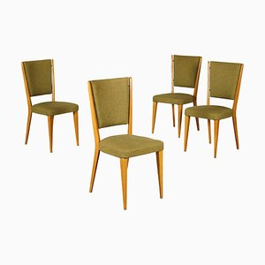 Italian Beech and Fabric Dining Chairs, 1960s, Set of 4