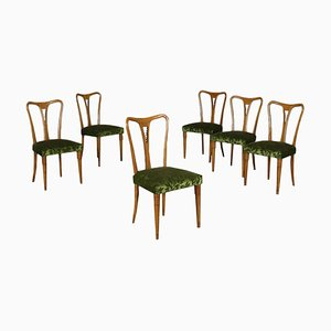 Mid-Century Italian Oak and Velvet Dining Chairs, Set of 6