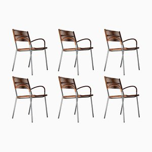 Italian Modern Miss B2 Leather Armchairs by Tito Agnoli for Pierantonio Bonacina, 1990s, Set of 6