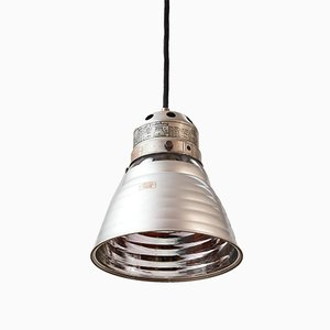 Lámpara de techo industrial de aluminio y vidrio, años 30