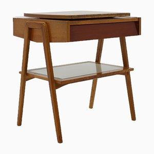 Consola vintage de vidrio y madera, años 70