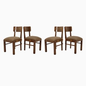 Art Deco Wooden Dining Chairs, 1930s, Set of 4