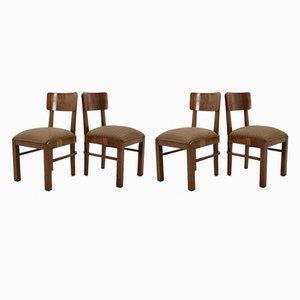 Sedie da pranzo Art Deco in legno, anni '30, set di 4