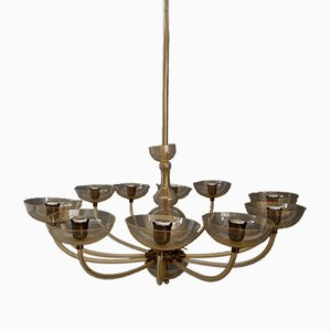 Art Deco Italian Hand-Blown Glass Chandelier by Carlo Scarpa for Venini, 1920s