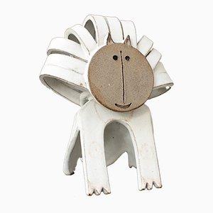 Escultura de león de cerámica de Bruno Gambone, años 90
