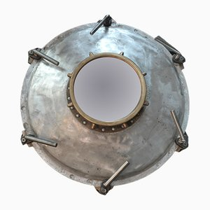 Antique Industrial French Porthole Mirror, 1900s