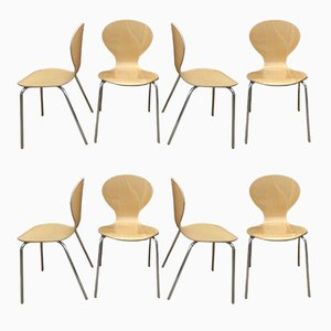 French Bentwood and Chrome Plating Dining Chairs, 1970s, Set of 8