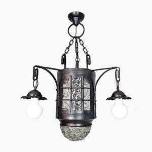 Antike deutsche Deckenlampe aus antikem Glas & Eisen
