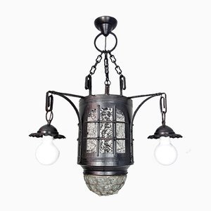 Antique German Antiqued Glass and Iron Ceiling Lamp