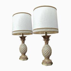 Französische Vintage Tischlampen aus Holz in Ananas-Optik, 1970er, 2er Set