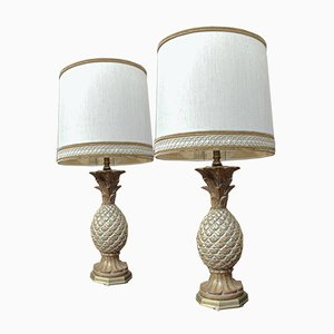 Lámparas de mesa francesas vintage con base en forma de piña de madera, años 70. Juego de 2