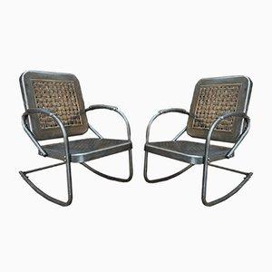 Rocking Chairs Mid-Century en Métal, Etats-Unis, 1950s, Set de 2