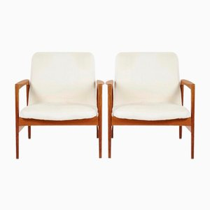 Vintage Wooden Armchairs by Alf Svensson for Dux, 1950s, Set of 2